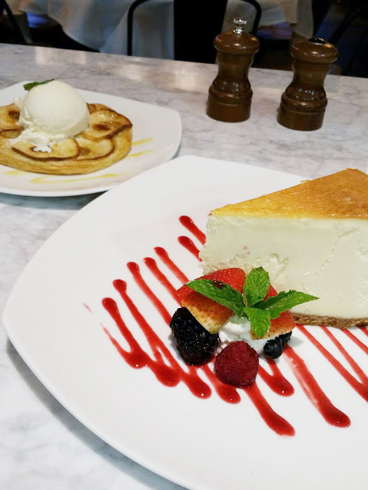 Tarte Tartin and Cheesecake.  photo cr.  Issa Chou