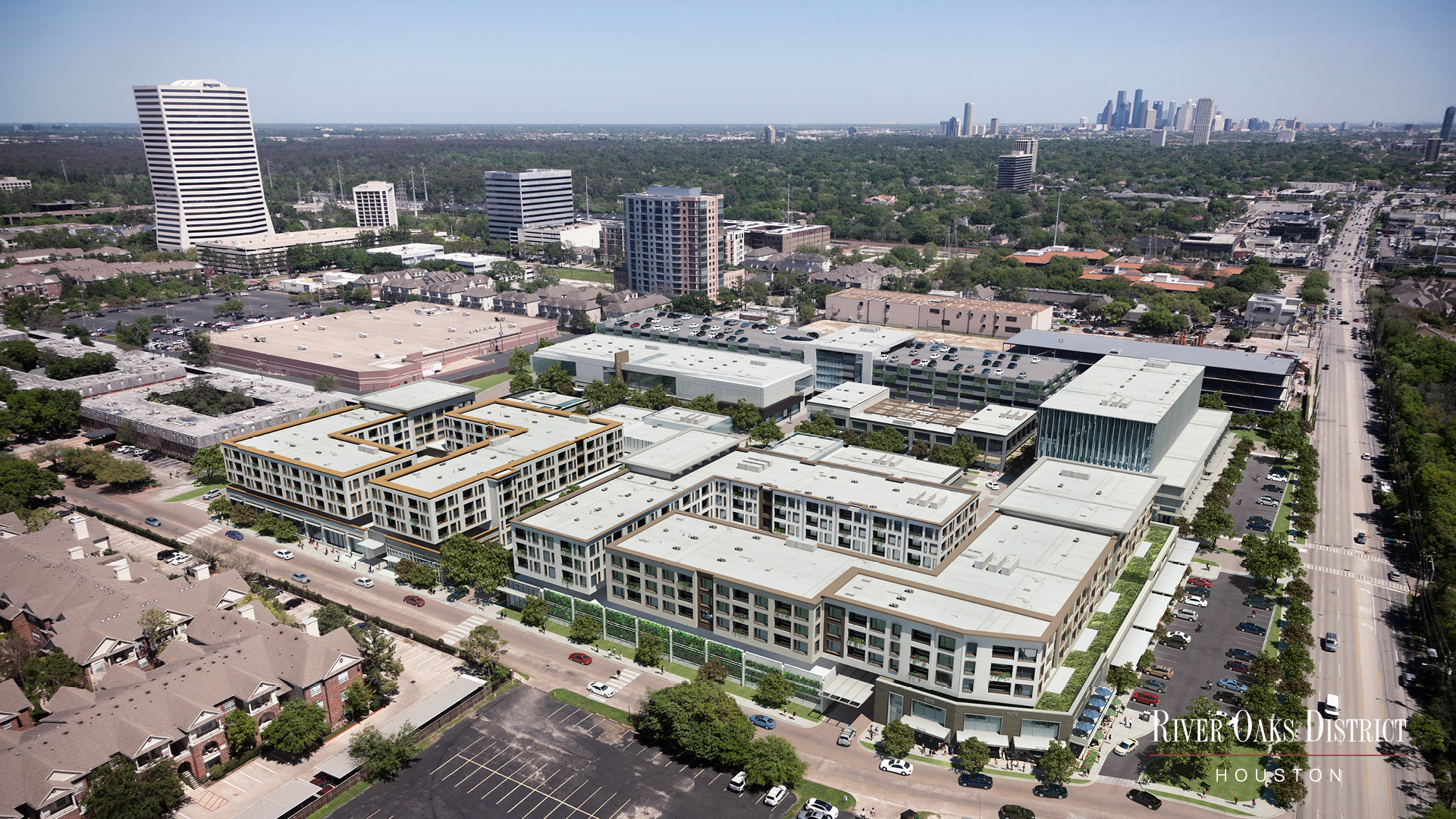 River Oaks District Aerial Rendering, located at Westheimer and Westcreek Ln
