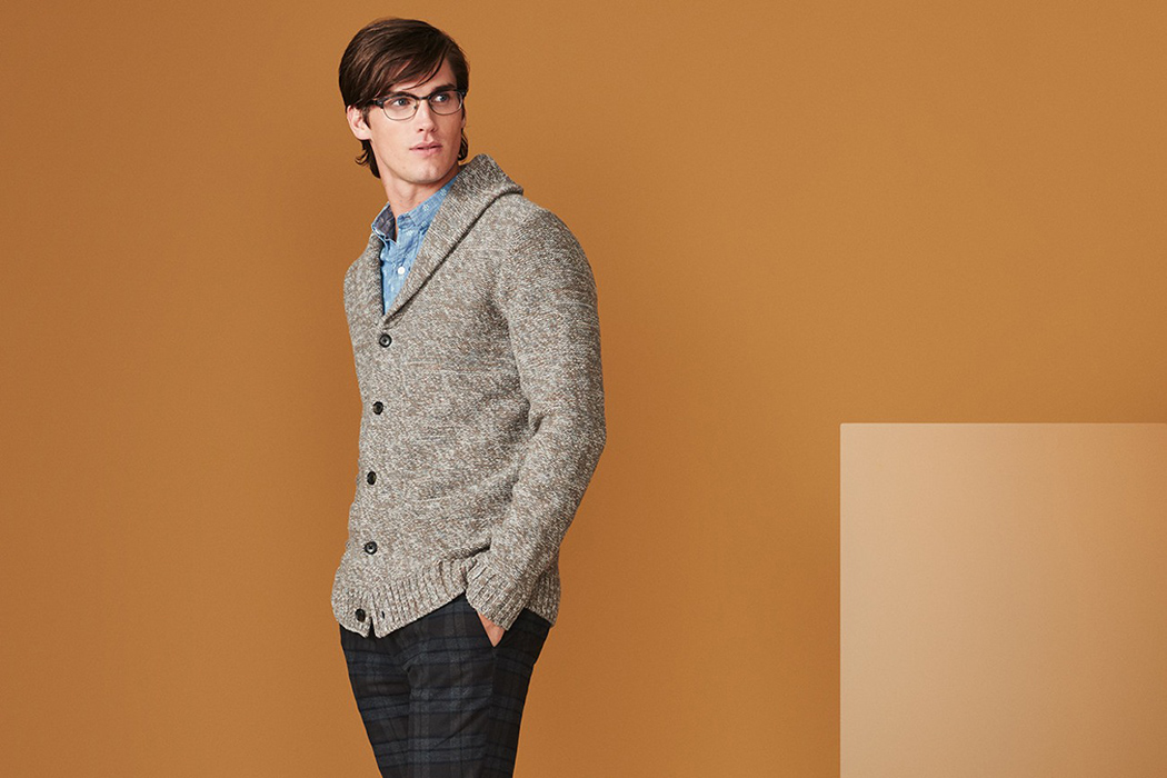 lambswool textured shawl cardigan, $158, available at BONOBOS