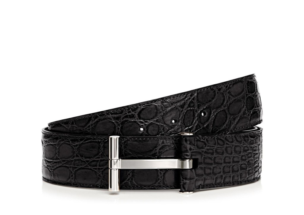 T square buckle alligator belt, $1490, available at TOM FORD