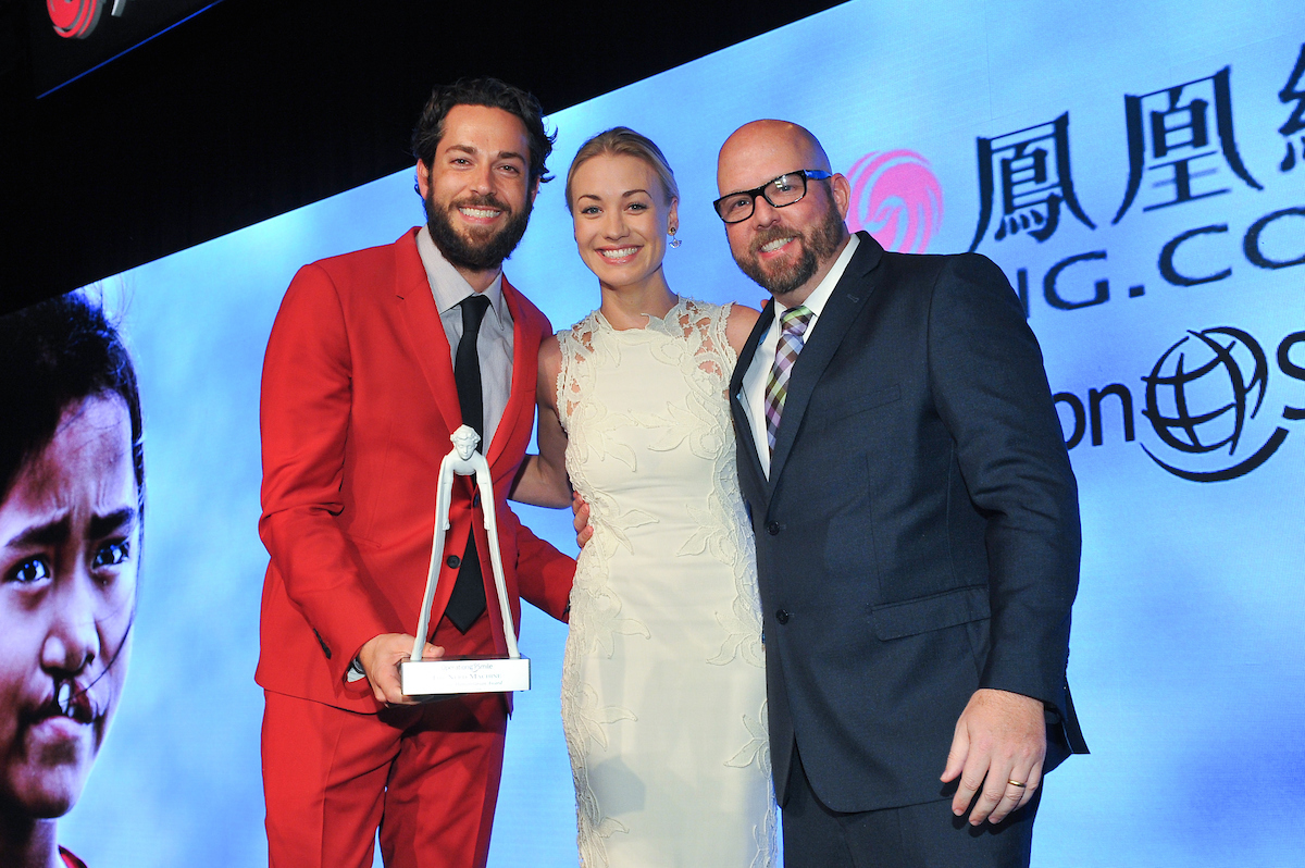 Zachary Levi,Yvonne Strahovski, David Coleman Yvonne presented the Corporate Humanitarian Award to the Nerd Machine
